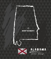 Alabama map, vector pen drawing on black background
