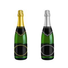 champagne bottle photo-realistic vector illustration isolated on white background