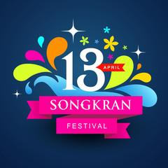 Vector logo songkran festival colorful water of Thailand design background, illustration