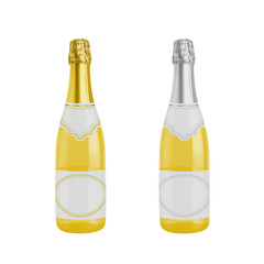 A bottle of yellow baby champagne.Photo-realistic vector illustration isolated on white background