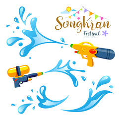 Vector sign songkran festival and water collections of Thailand design background, illustration