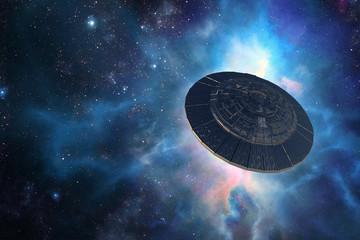 Door stickers UFO Alien spacecraft in outer space