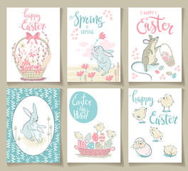 Collection of cute Easter cards. Vector illustration.