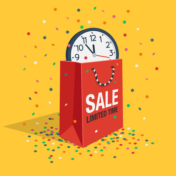 Special limited time sale symbol with shopping bag, wall watch and flying confetti isolated on yellow background. Easy to use for your design with transparent shadows.