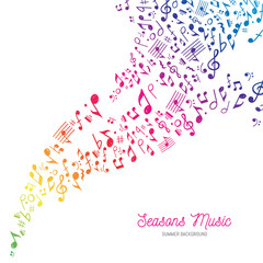 Music Background in Rainbow Summer Colors