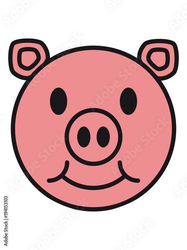 Gesicht Kopf Lächeln Schwein Süß Niedlich Comic Cartoon Lachen