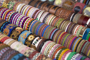 Colorful traditional Bolivian fabrics on the market