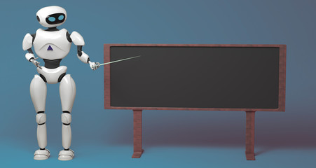 Android robot with pointer stick on blue background. 3d illustration. Robot teacher standing in front of blackboard