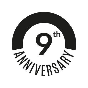 9 year anniversary icon. 9th celebration template for banner, invitation, birthday. Vector illustration.