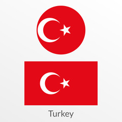 Turkey flag set. Turkish national symbol. Vector illustration.