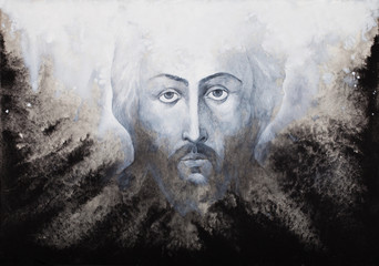 Icon of Jesus Christ Shroud executed by watercolor