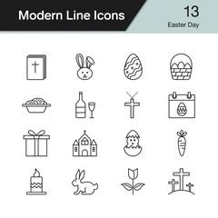 Easter icons. Modern line design set 13. Vector illustration.