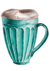 Watercolor blue cup with coffee