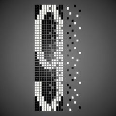 3D neon number destroyed on the pixels on a gray background. 3D rendering.