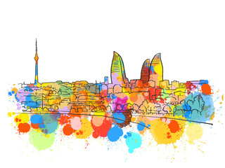 Baku Azerbaijan Colorful Landmark Banner