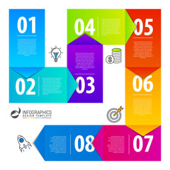 Infographic design template with 8 steps. Vector