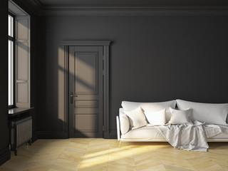 Classic interior black sofa
