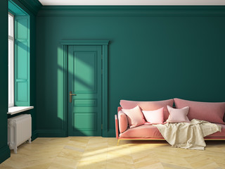 Classic interior green sofa.