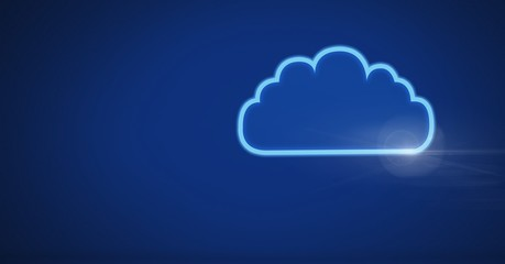 cloud icon with blue technology background