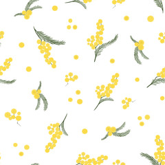 Spring seamless pattern with branches of mimosa. Vector.