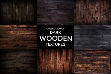 Dark wooden background or texture with natural pattern, collection Wall mural