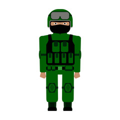the special forces character in a green