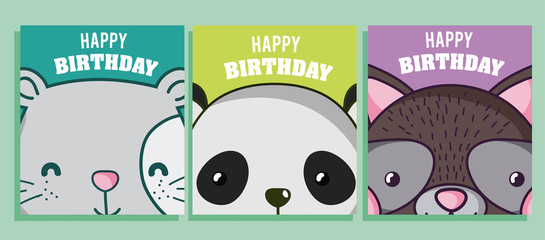 Happy birthday to you cards animal cartoon