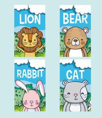 Cute animals cartoon cards