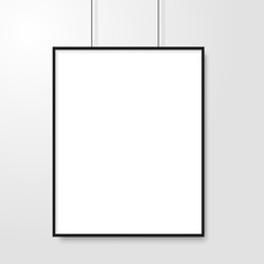Blank of picture frame hanging on grey background. Vector.