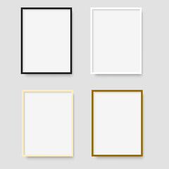 Set of photo frames on grey background. Vector.