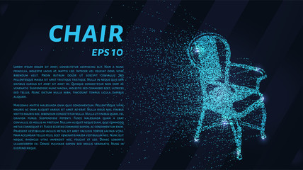 The chair of the particles. The chair consists of circles and points. Vector illustration