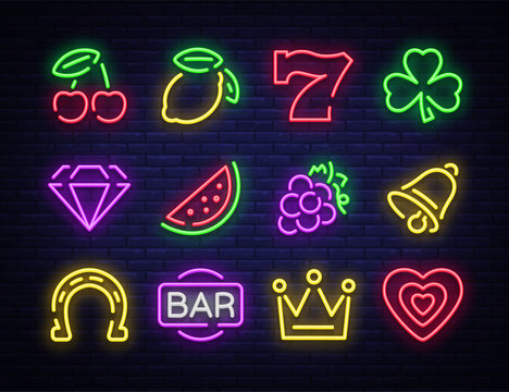 Slot machine is a neon sign. Collection of neon signs for a gaming machine. Game icons for casino. Vector Illustration on Casino, Fortune and Gambling. Jackpot