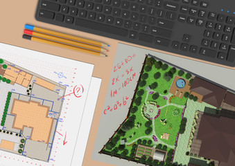 Design of the garden. The working environment of the landscape architect.