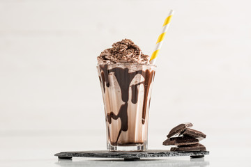 Chocolate Milk and Whipped Cream on White Background