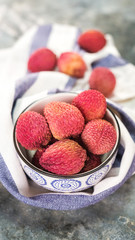 Fresh organic lychee fruit