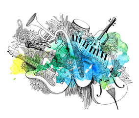 Composition of musical instruments with a splash of colors