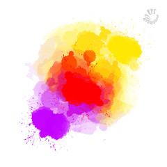 Abstract painted drops, red yellow and violet