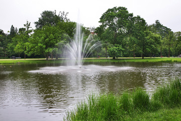 Fountain at Vondelpark in Amsterdam. Netherlands