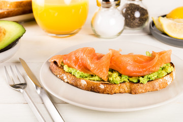 Healthy Breakfast with Wholemeal Bread Toast, smashed Avocado, a
