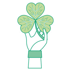 colorful hand man with clover plant and leaves