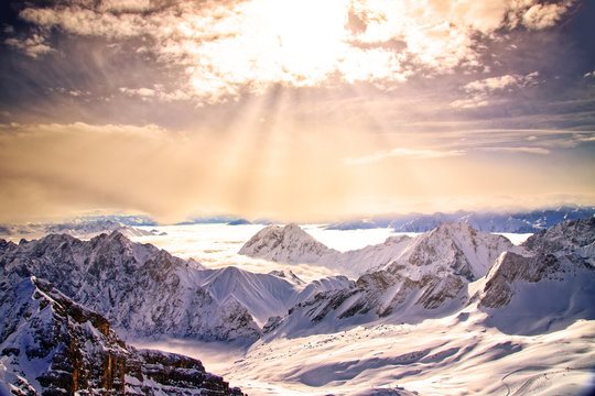 View from the Zugspitze, the top of Germany