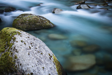 beautiful mountain river gave d'ossau in long exposure, pyrenees, france
