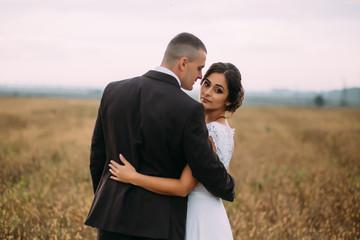 Tender brunette wedding couple poses on the autumn field