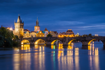 Poster Prague Charles bridge in Prague city - night view
