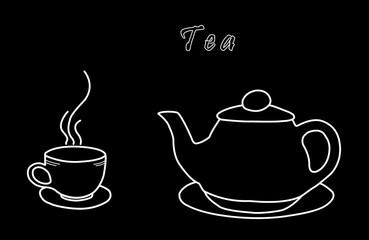 Tea kettle and tea Cup on black background