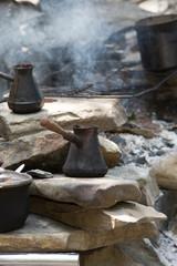 pot, coffee, fire, metal