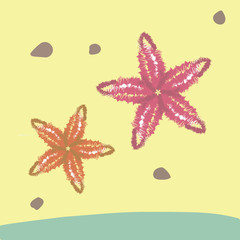 red and orange big starfish on a tropical yellow sandy beach and blue wave