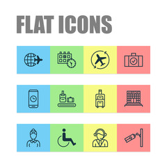 Airport icons set with phone time, baggage, airplane direction and other appointment