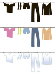 Black, white and colored underwear is dried after washing on a rope with clothespins.