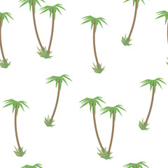 Light colored tropical with green palm trees and coconut seamless pattern